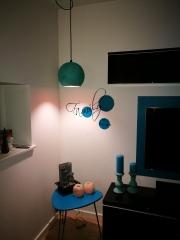 Hjørnelampe modtaget fra kunde. Flot i oxideret grøn Ø25