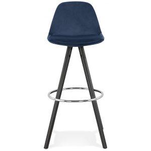 Barstol i blå velour med sølvfod