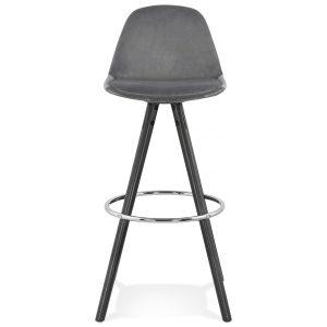 Barstol i grå velour med sølvfod