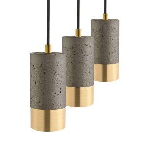 Mørk betonlampe i messing 3 styk