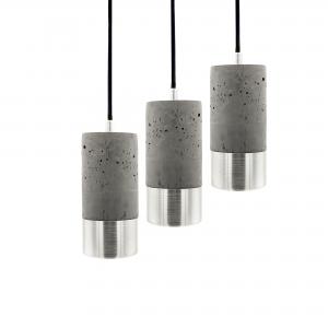 3 mørke betonlamper i aluminium