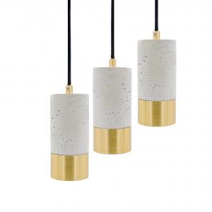 3 lys betonlamper i messing
