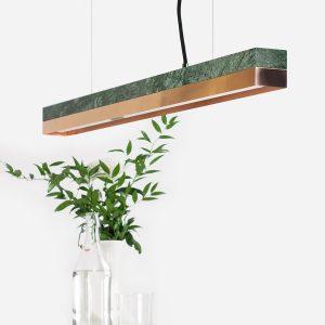 Grøn marmor og kobber lampe
