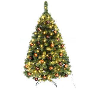 Juletræ 150 cm Maria med LED lys og brune julekugler