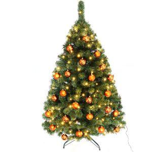 Juletræ 150 cm Maria med LED lys og orange julekugler