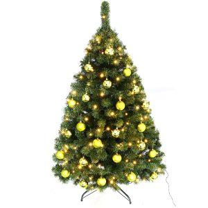 Juletræ 150 cm Maria med LED lys og lime julekugler