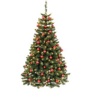 Kunstigt juletræ med røde kugler