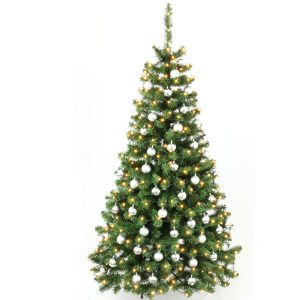 Juletræ 210 cm med LED lys og sølv kugler