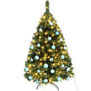 Juletræ 150 cm Maria med LED lys og blå julekugler