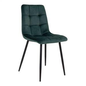 Spisebordsstol velour mørkegrøn farve