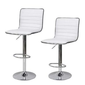 2 barstole i hvid kunstlæder