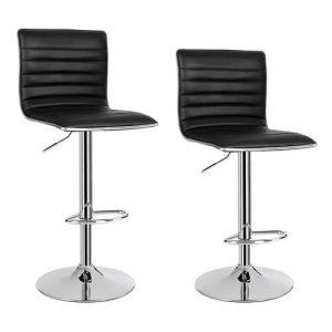 2 barstole i sort kunstlæder.