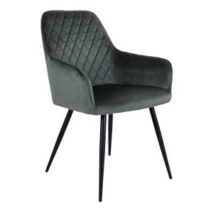 Spisebordsstol velour mørkegrøn med armlæn.