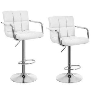 2 barstole i hvid med armlæn