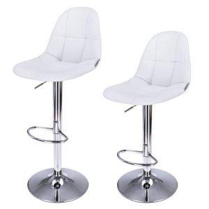 2 barstole i hvid kunstlæder smal model