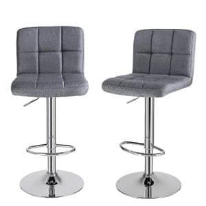 2 barstole i grå med stof.