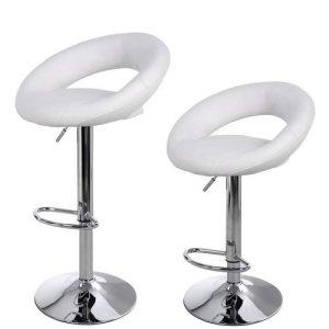 2 barstole i hvid kunstlæder rund model
