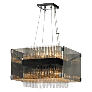 Apollo chandelier 52 x 52 cm. Meget smuk chandelier lampe i mørk brochepoleret krom. Med sin firkantet formgiver lampen et flot og elegant udtryk.