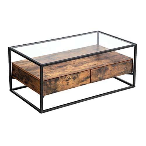 Sofabord vintage 106 cm med glasplade. Smuk vintage bord som kan bruges som sofabord. Med skuffeudtræk.