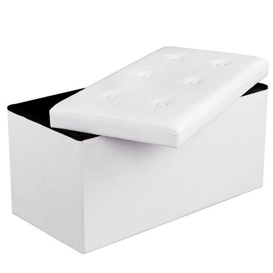 Bænk med opbevaringsrum hvid 76 cm