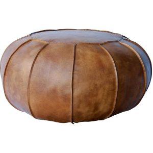 Rund læderpuf Gustav antik brun.